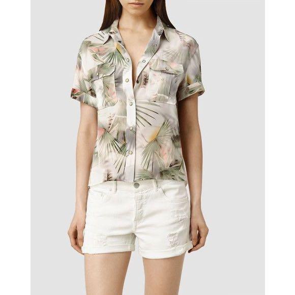 ALL SAINTS Octavia Colada Button-Up 100% Silk Top💫