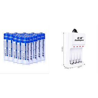 Doublepow USB Battery Charger & 4 AA 1200mAh Rechargeable Batteries