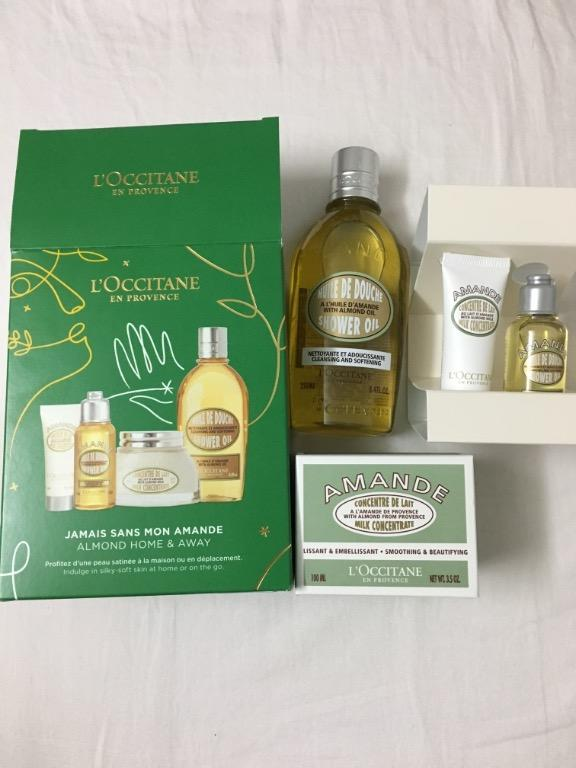 L'occitaine Almond Home and Away Skincare Set- Almond Shower Oil and Almond Milk Concentrate