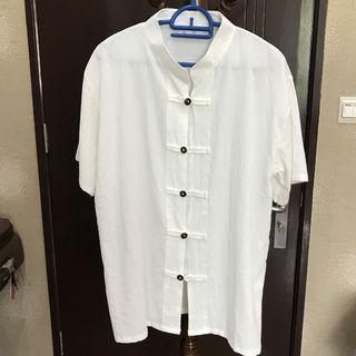 Men Mandarin White Shirt - L size