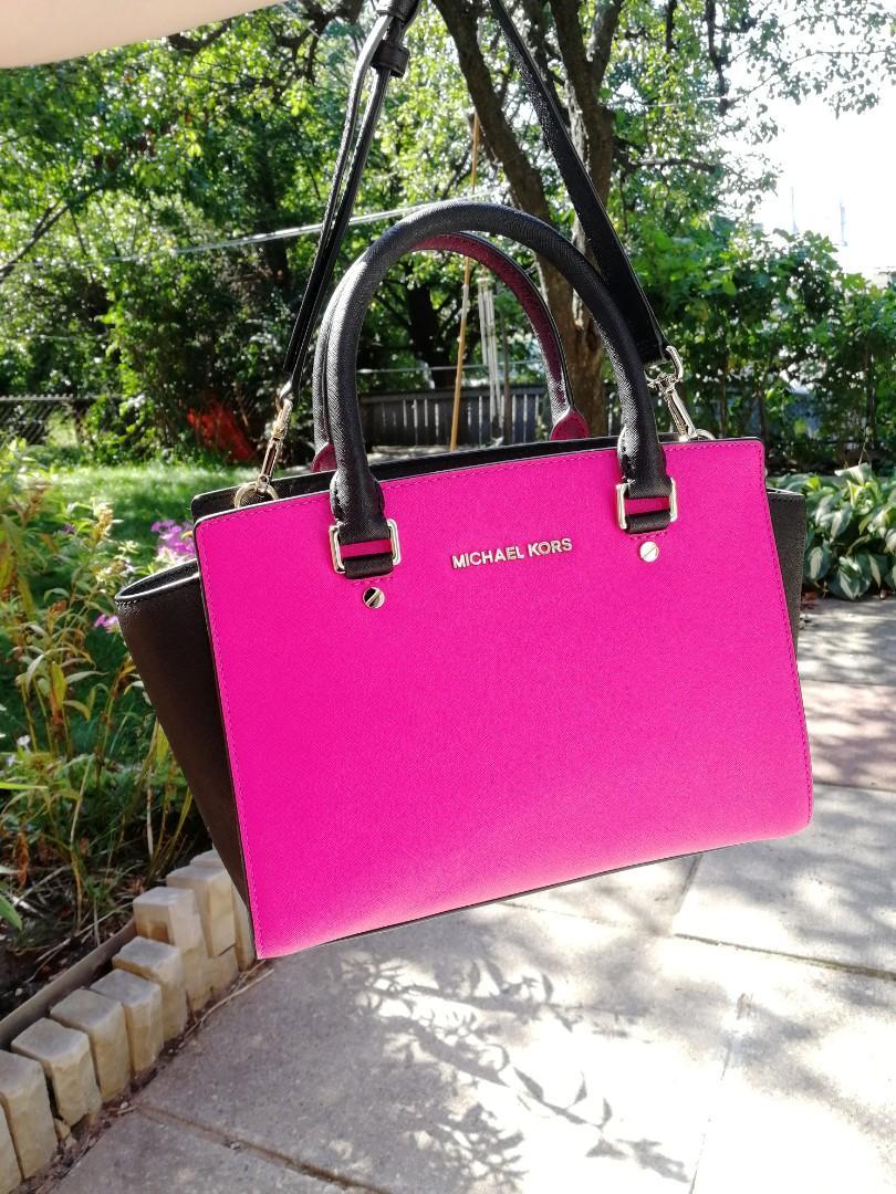 Brand New Michael Kors Selma Medium Pink/Black