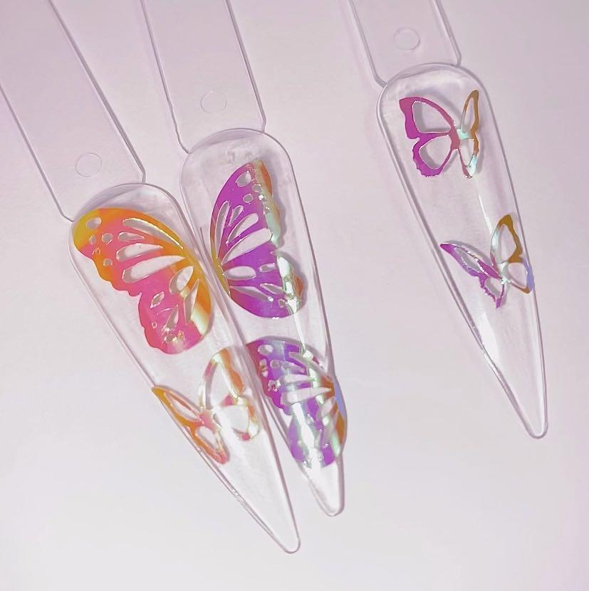 Pearlescent butterfly nail stickers