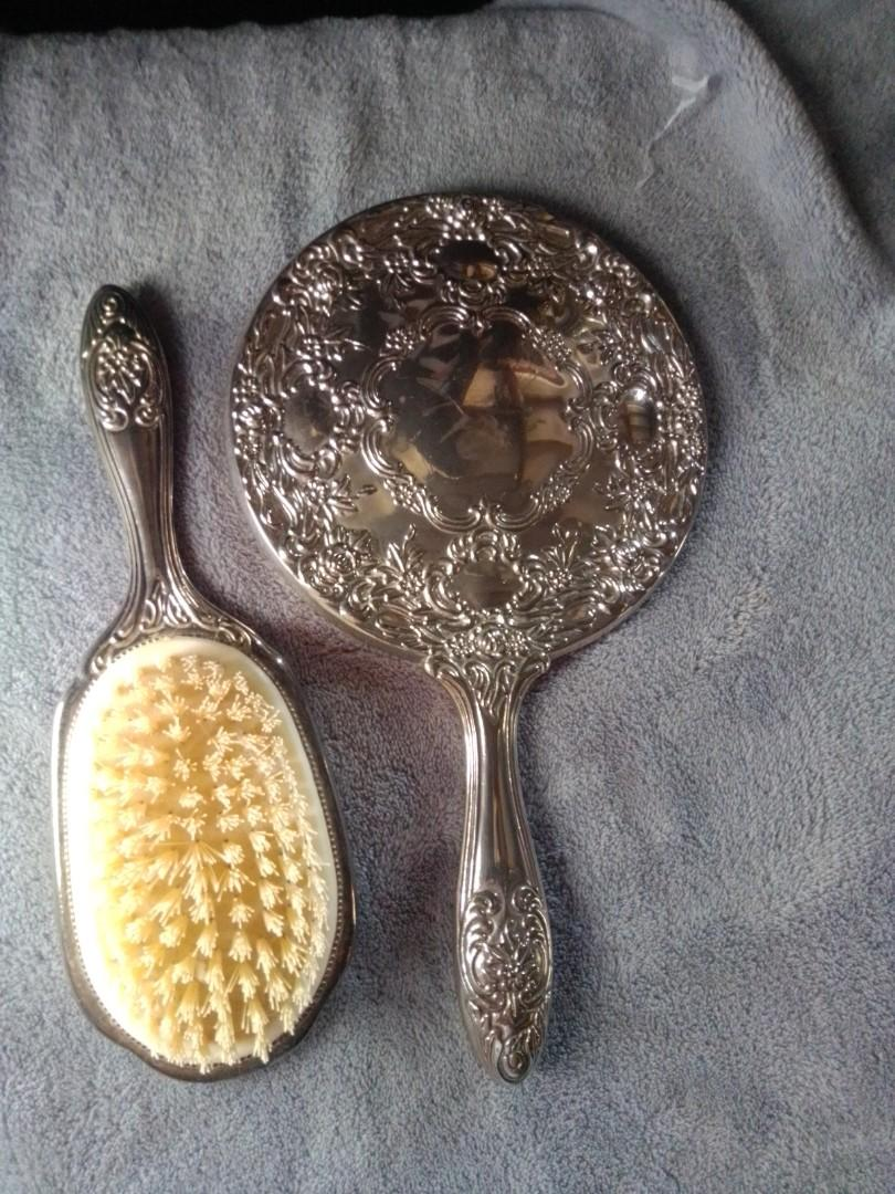 Silver mirror and comb set