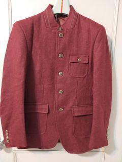 (全新)暗紅色軍裝風格毛尼外套