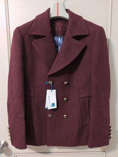 (全新)暗紅色經典款秋冬外套