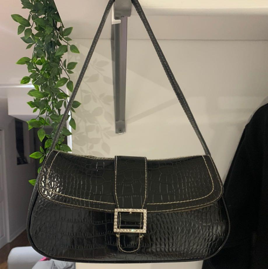 Black baguette shoulder bag purse