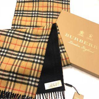 正burberry100%羊絨圍巾經典款大款經典格紋雙色黑色駝色(雙面圍巾喀什米爾羊毛披肩經典格紋黑色 藍炭 全新二手