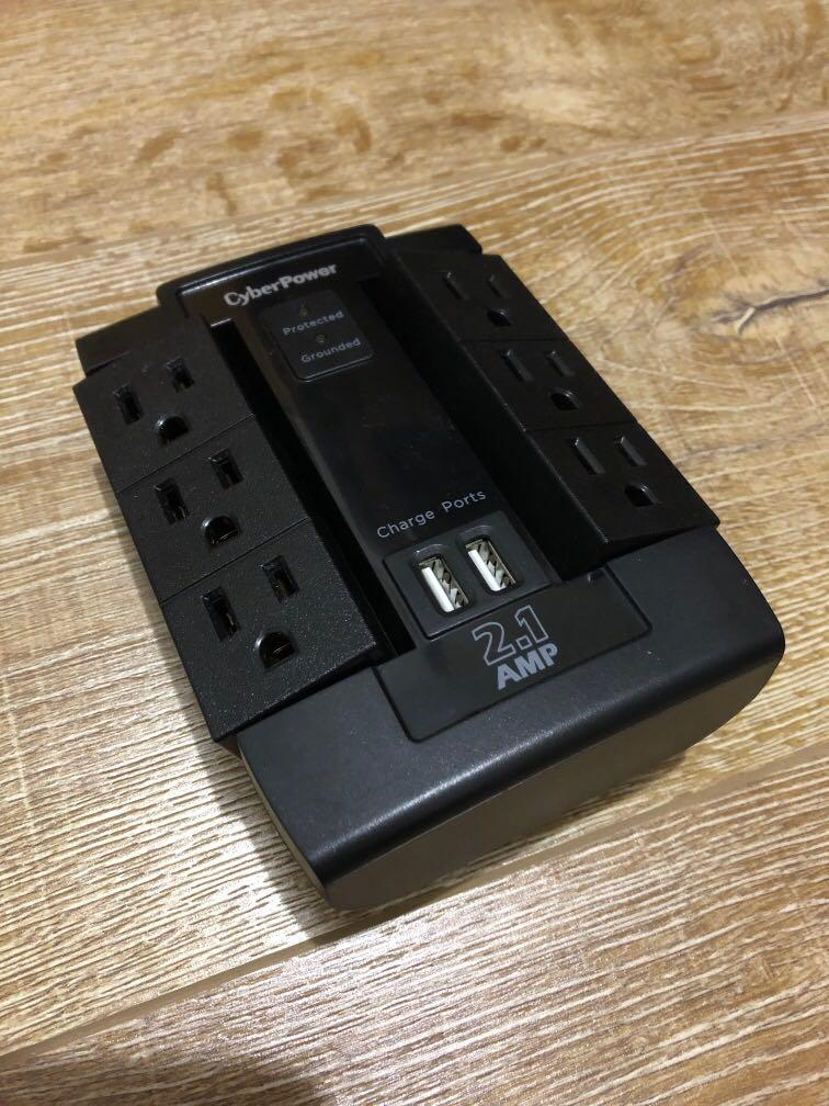 Cyberpower Wall Surge Protector 6 Outlets and 2 USB ports
