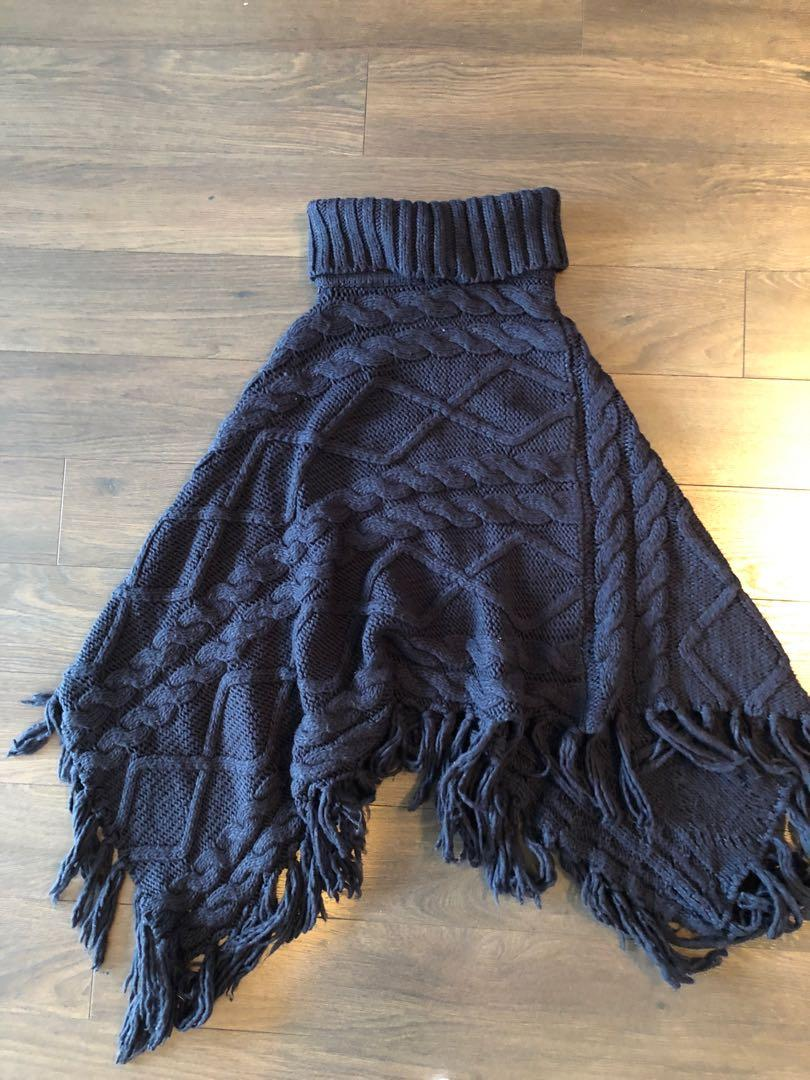 Forever 21 Navy Blue Poncho Pullover
