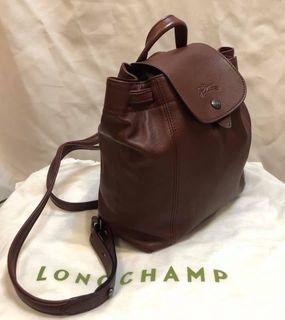正Longchamp小羊皮後背包LE PLIAGE CUIR XS酒紅色可放長夾(兩用包手提包斜背包尼龍折疊包黑色全新