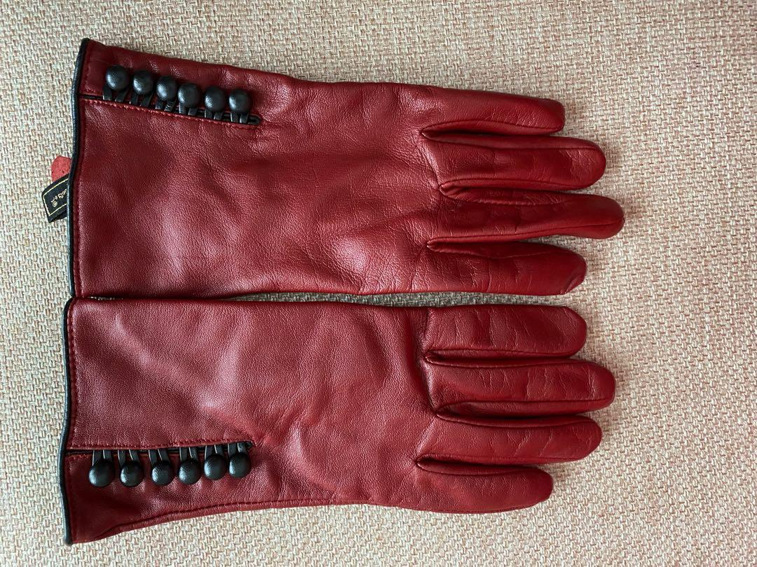 Merca and Madison red leather gloves