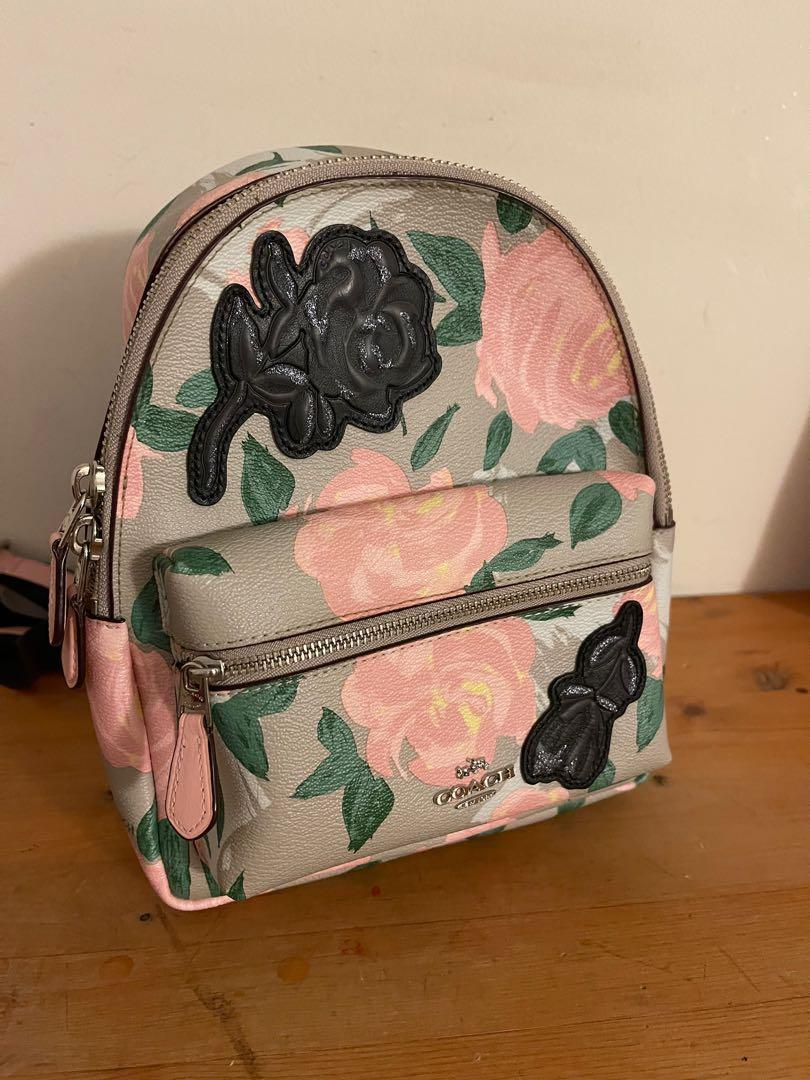 MINI CHARLIE BACKPACK WITH CAMO ROSE FLORAL PRINT, F25869, BLUSH MULTI