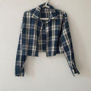 New Cropped Blue and White Tartan/Plaid Flannel