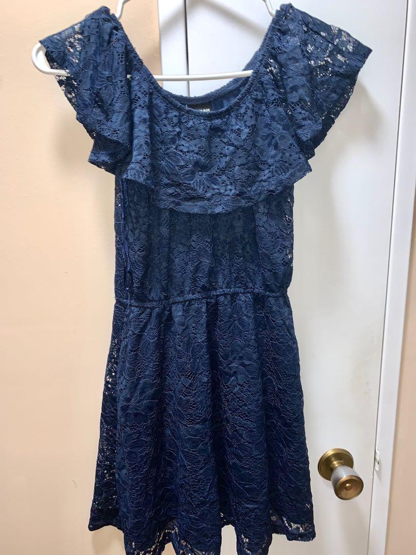 off the shoulder navy blue dress