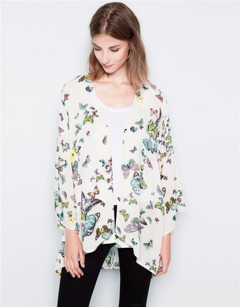PULL&BEAR Kimono Mariposas