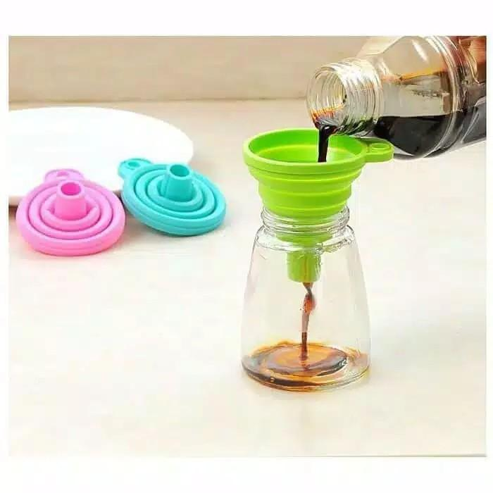 Silicone Botol Susu Mini Corong Lipat Portable Air Minyak Flexible Colorful Silikon