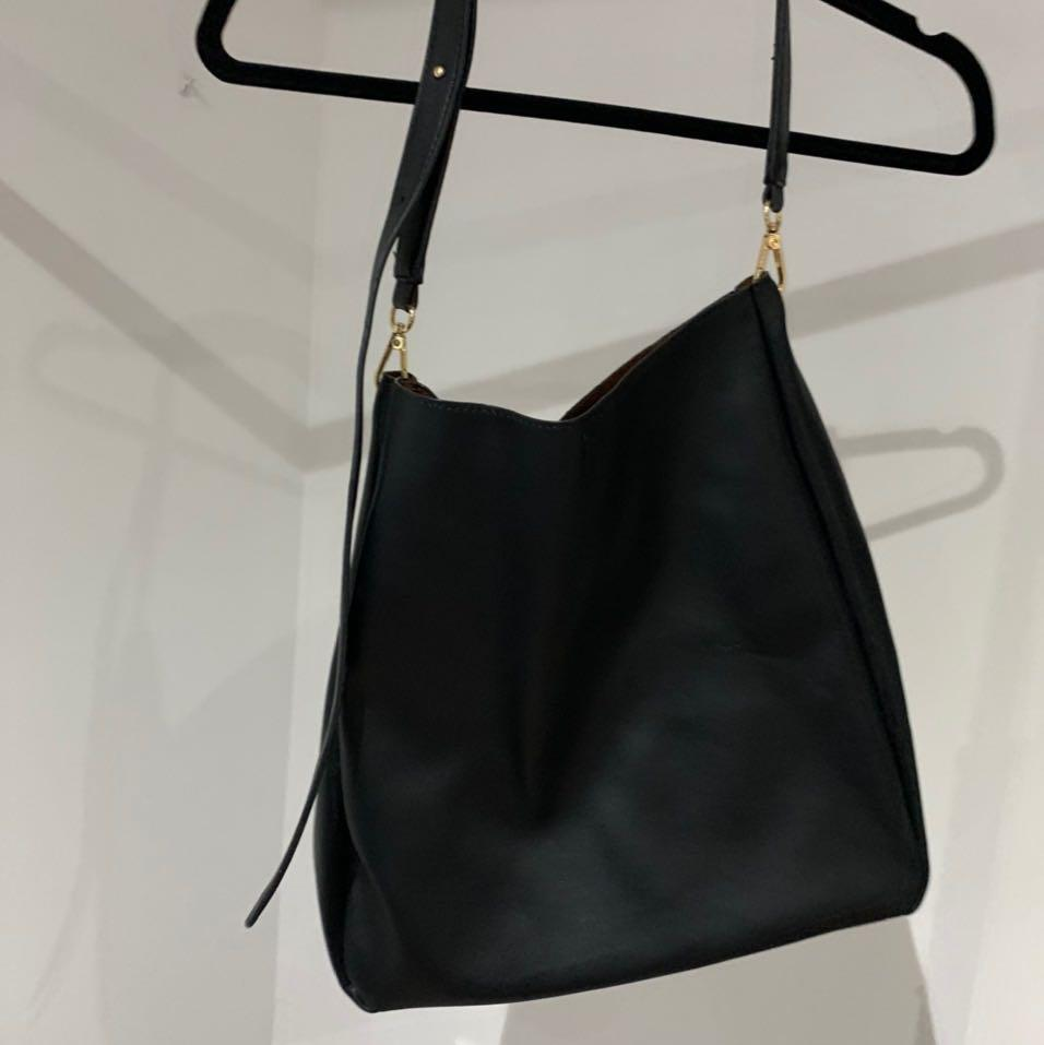 Urban outfitters faux black tote bag