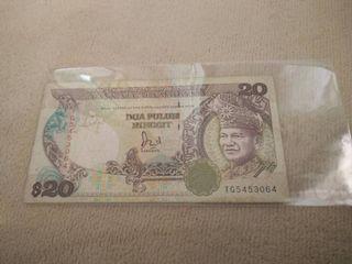 1 Pcs Real Banknote RM20 Ringgit Malaysia