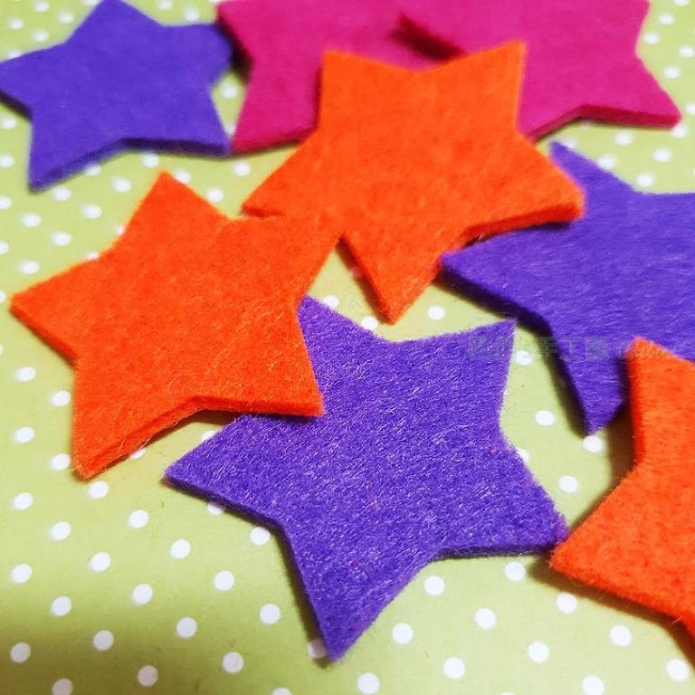 30782 不織布配件-星星(3入) 西西手工藝材料 裝飾布置 卡片布書材料 拼布材料 手機殼DIY 布貼飾 滿額免運
