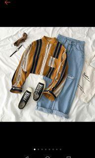 拼色立領無領線條寬鬆襯衫
