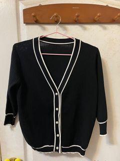 全新-針織七分袖珍珠釦氣質美