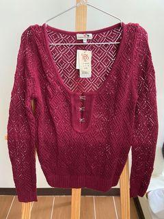 最後出清1/31下架!品牌秋冬季服飾 酒紅色針織毛衣 全新 賣場2件含運