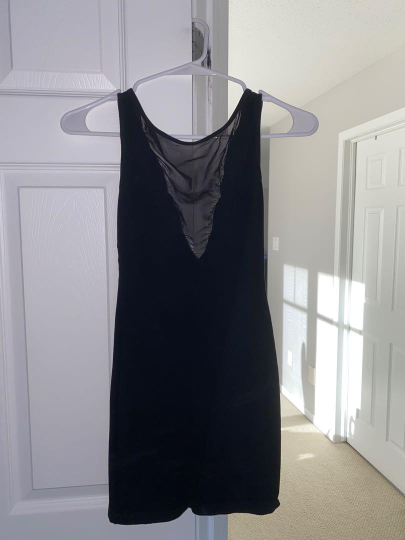 Black dress with mesh cut out