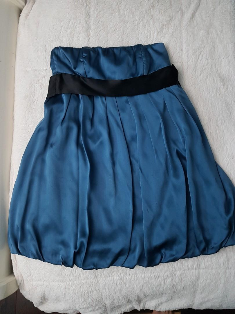Formal Silk Strapless Dress (Blue)