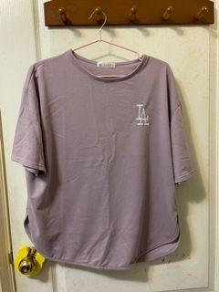 二手-粉芋頭色寬版繡線Logo短袖T恤
