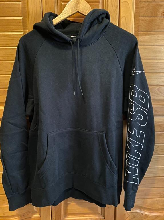 【二手出清】Nike SB Hoodie 黑色帽T 刷毛 刺繡 AA2033-010