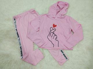 Setelan hoodie pink
