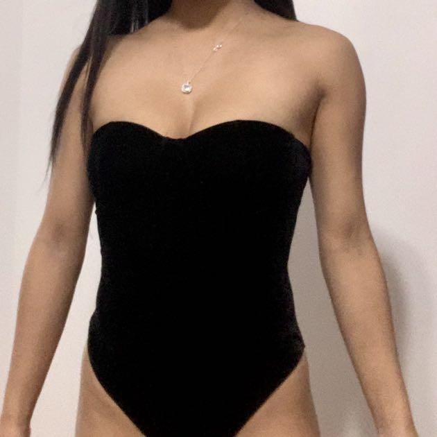 Strapless Cupped Black Velour bodysuit