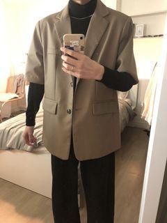 摩卡色 寬肩 over size 短袖 韓國 西裝 外 套(僅穿過2-3次)男女通用