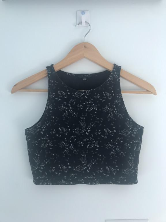 Aritzia Talula Black Crop Top with Grey Stars
