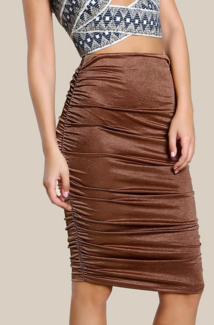 Brown Bronze Ruched Bodycon Skirt - Size M