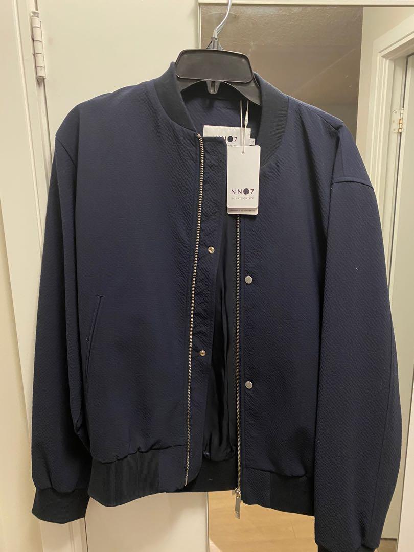 NN07 pires seersucker bomber jacket navy blue