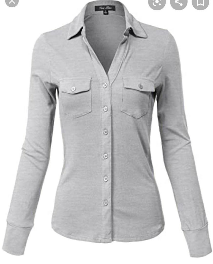 Topshop Ribbed Grey Button Down Shirt (Size S)