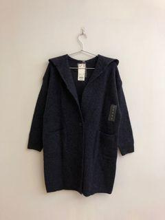 Uniqlo 針織連帽大衣(藍)
