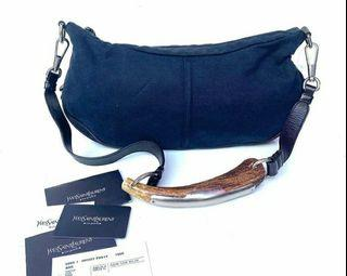 YSL Mombasa denim shoulder bags, VGC  with card and booklet  th' 2003, size  39 x 19cm