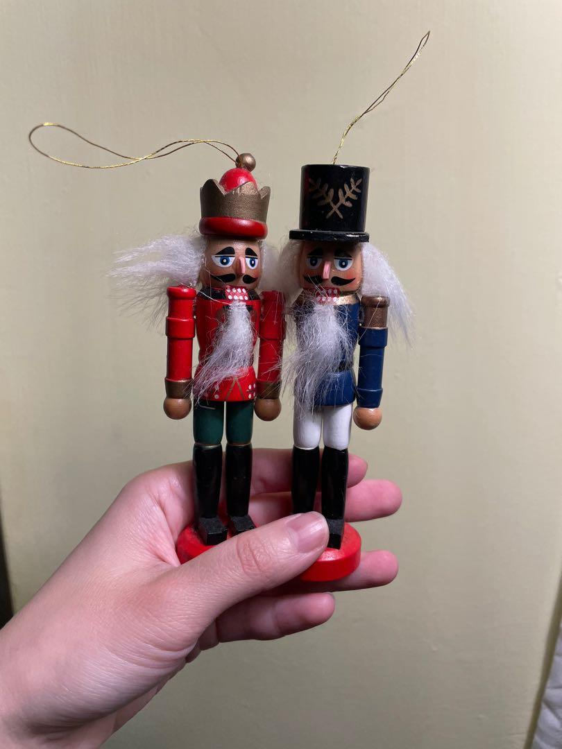 2件組!胡桃鉗聖誕樹吊飾掛飾/紅色/藍色