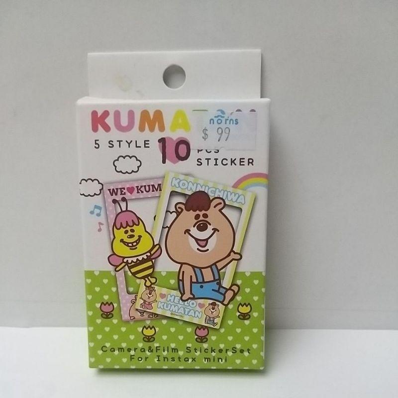 邊框貼紙 Kumatan WC熊 10張 適用 拍立得空白 黑白 底片