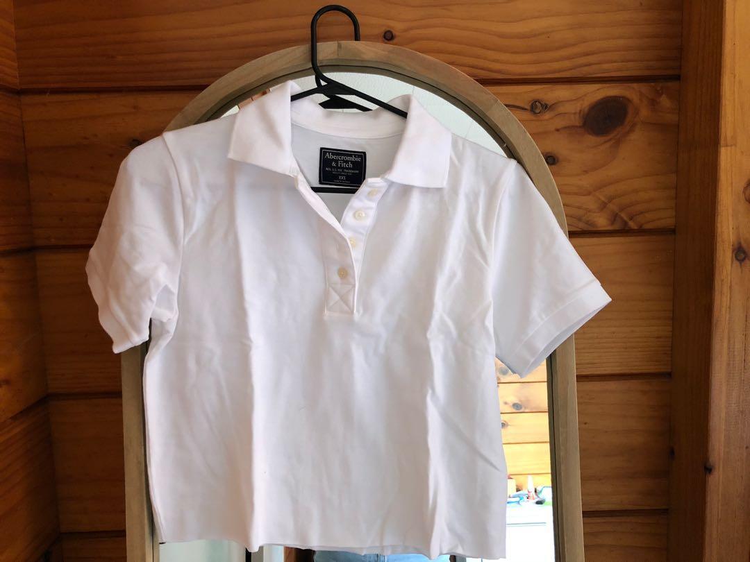 Abercrombie and Fitch white polo shirt xxs
