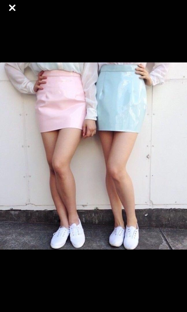 American apparel Pink patent leather skirt