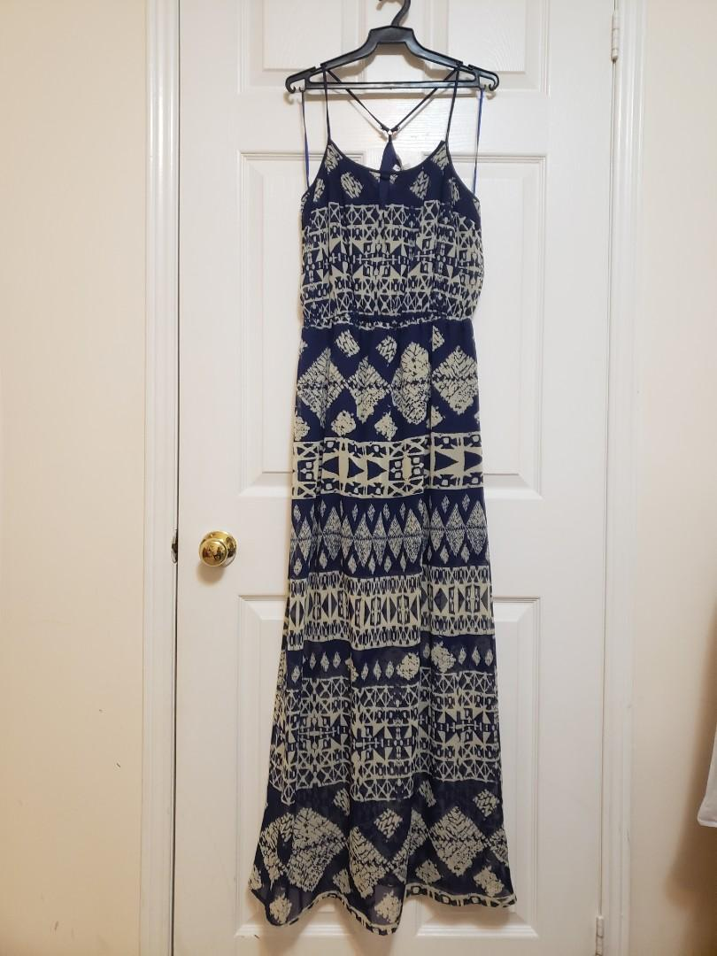 Aztec Blue and Taupe Maxi Dress