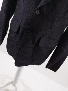 Blazer batik viscose hitam + full furing + kantong