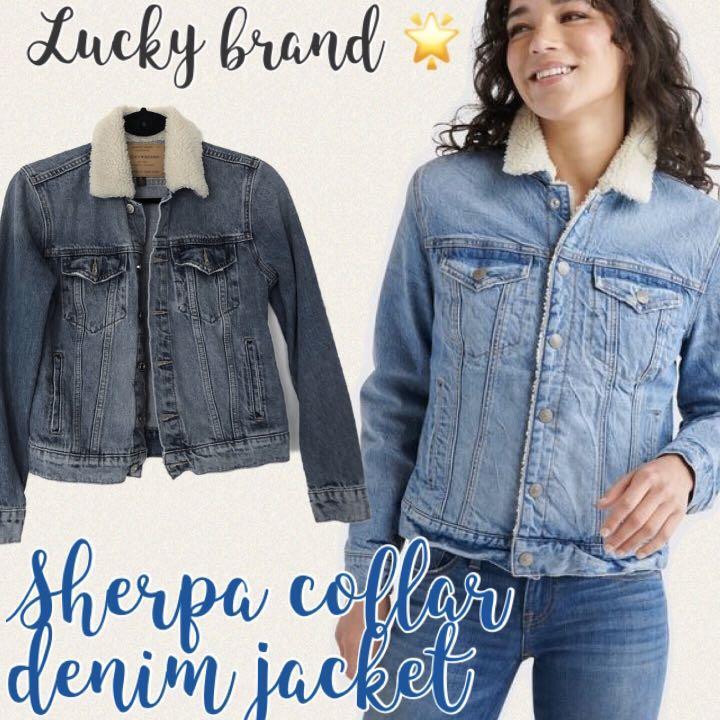 🆕 Classic blue denim jacket w/ faux Sherpa collar