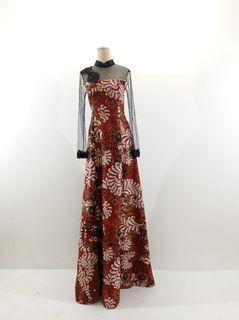 Dress batik atbm motif merah marun putih kombinasi tile dihiasi dengan brokat
