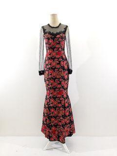 Gaun batik atbm motif bunga merah hitam kombinasi tile dan brokat (model duyung)