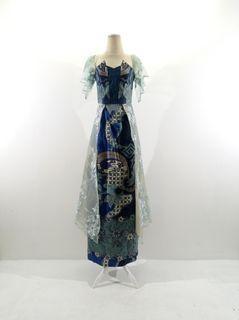 Gaun batik sutera motif hijau bunga kombinasi brokat