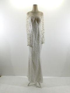 Gaun brokat putih full